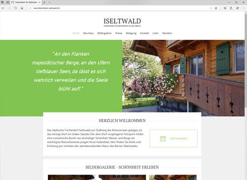 Webseite Ferienheim Iseltwald