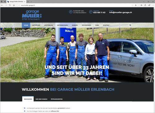 Neue Webseite für die Garage Müller in Erlenbach