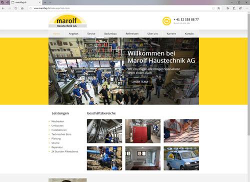 Webseite für Marolf AG Erlach Haustechnik