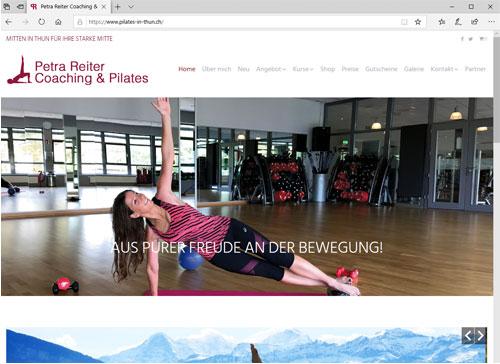 Webseite für Petra Reiter Coaching - Pilates in Thun