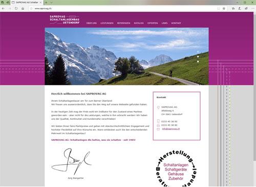 Webseiten Saprovag Uetendorf Schaltanlagenbau